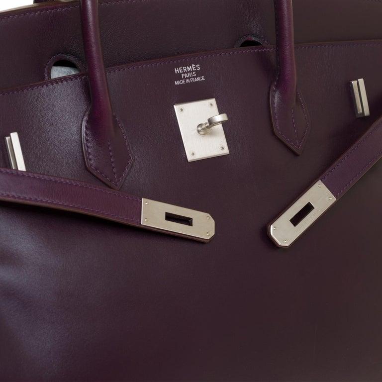 Women's or Men's Rare Hermes Birkin 40 handbag in purple Box calfskin and brushed silver hardware
