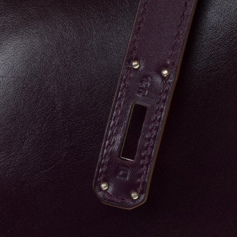 Rare Hermes Birkin 40 handbag in purple Box calfskin and brushed silver hardware 1