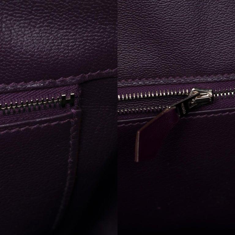 Rare Hermes Birkin 40 handbag in purple Box calfskin and brushed silver hardware 2