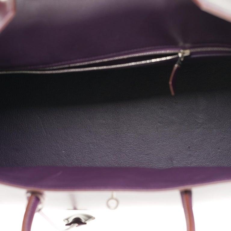 Rare Hermes Birkin 40 handbag in purple Box calfskin and brushed silver hardware 3