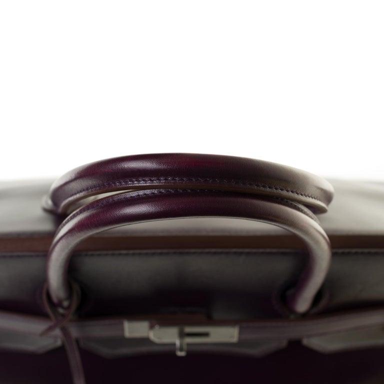 Rare Hermes Birkin 40 handbag in purple Box calfskin and brushed silver hardware 4