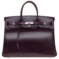 Rare Hermes Birkin 40 handbag in purple Box calfskin and brushed silver hardware
