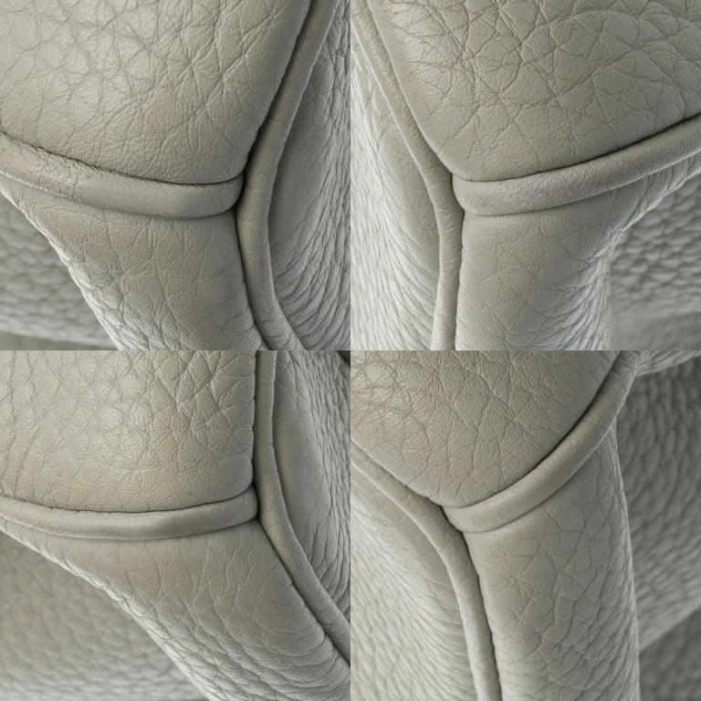 Rare Hermès Birkin Club 35 handbag in grey, white leather and blue lizard, SHW For Sale 6