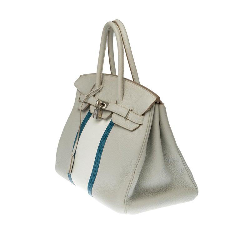 Gray Rare Hermès Birkin Club 35 handbag in grey, white leather and blue lizard, SHW For Sale