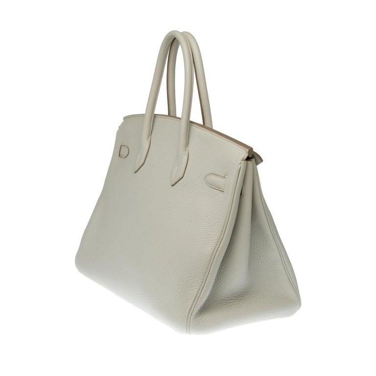 Rare Hermès Birkin Club 35 handbag in grey, white leather and blue lizard, SHW In Excellent Condition For Sale In Paris, Paris