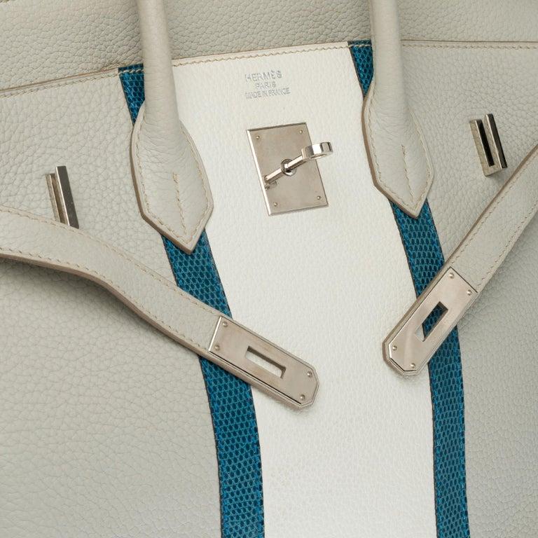 Women's Rare Hermès Birkin Club 35 handbag in grey, white leather and blue lizard, SHW For Sale