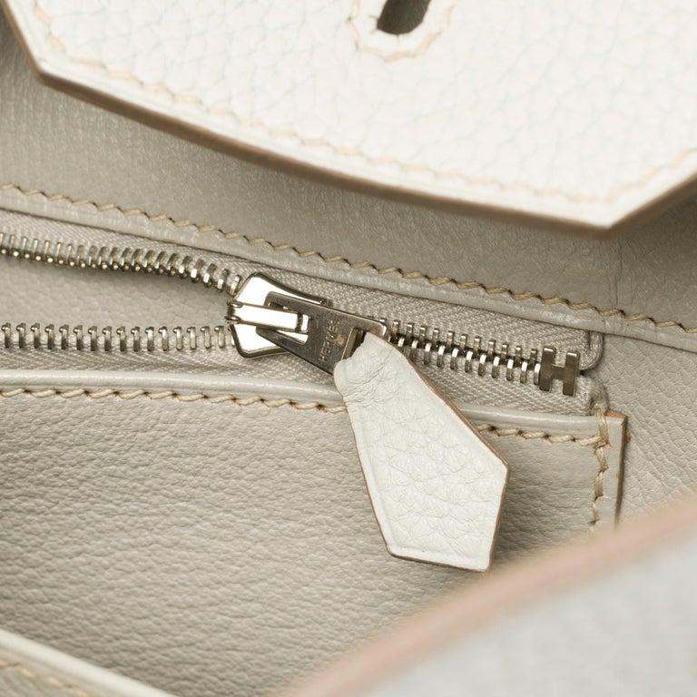 Rare Hermès Birkin Club 35 handbag in grey, white leather and blue lizard, SHW For Sale 2