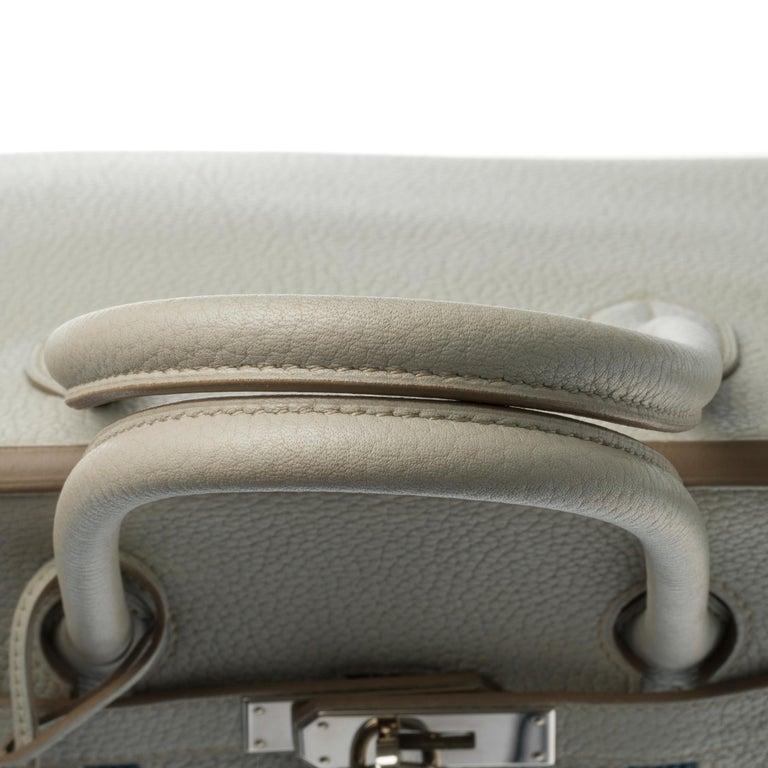 Rare Hermès Birkin Club 35 handbag in grey, white leather and blue lizard, SHW For Sale 4