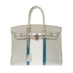 Rare Hermès Birkin Club 35 handbag in grey, white leather and blue lizard, SHW