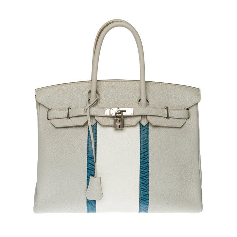 Rare Hermès Birkin Club 35 handbag in grey, white leather and blue lizard, SHW For Sale