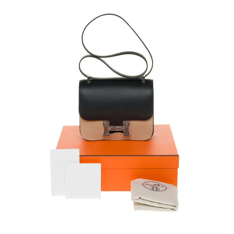 RARE Hermes Constance 24 shoulder bag in black Madame calf and Clasp in Lizard For Sale 8