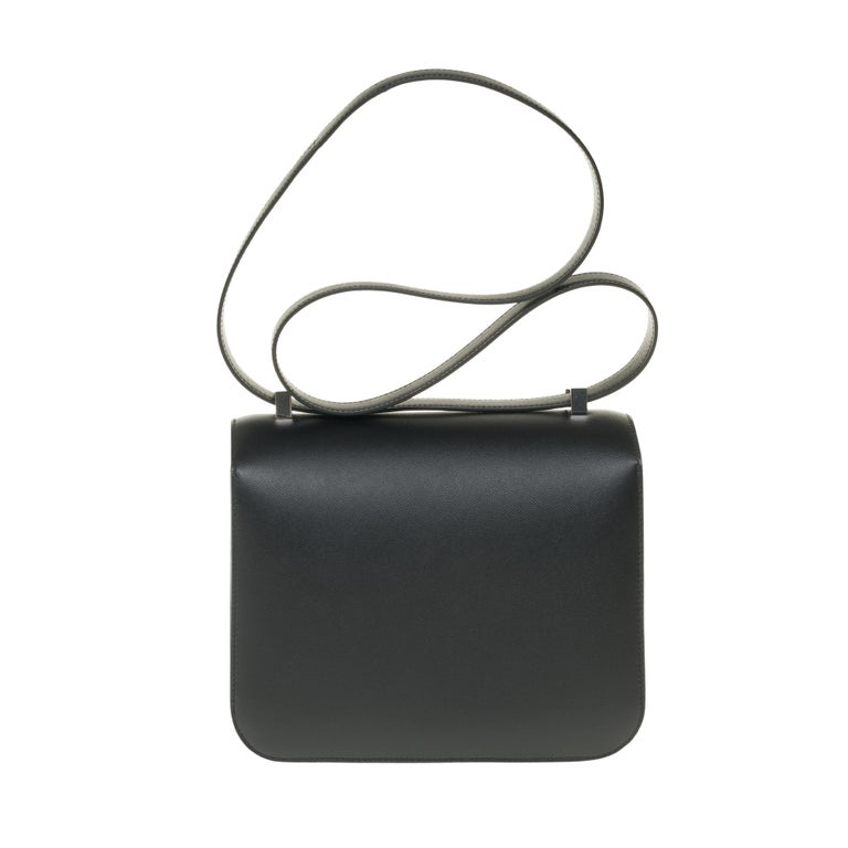 Black RARE Hermes Constance 24 shoulder bag in black Madame calf and Clasp in Lizard For Sale