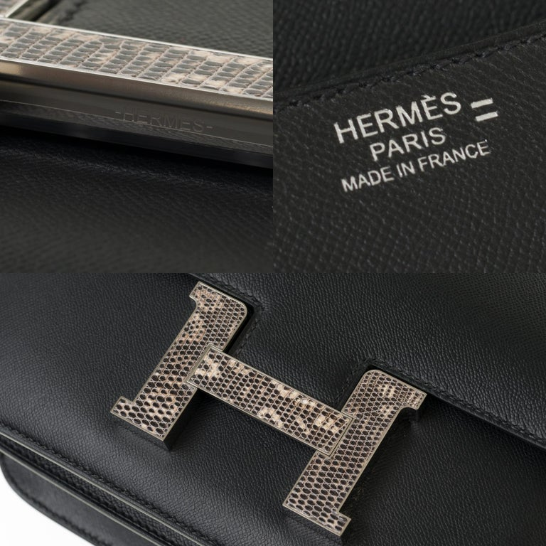 RARE Hermes Constance 24 shoulder bag in black Madame calf and Clasp in Lizard For Sale 1