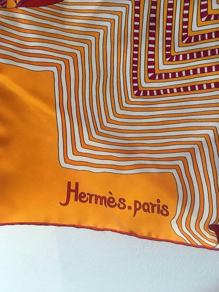Brown Hermes Coupons Indiens Silk Scarf in Orange, circa 2008 For Sale