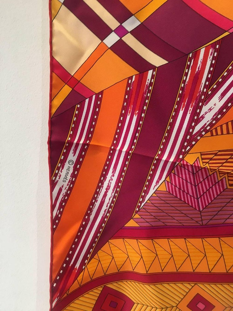Hermes Coupons Indiens Silk Scarf in Orange, circa 2008 In Excellent Condition For Sale In Philadelphia, PA