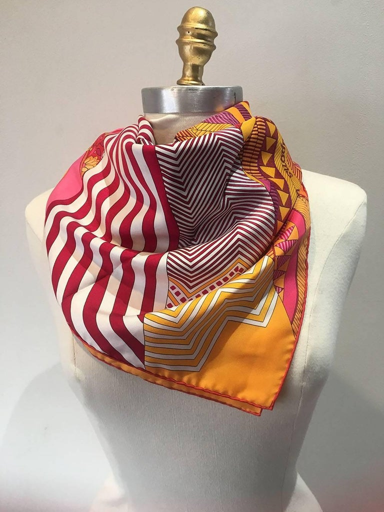 Hermes Coupons Indiens Silk Scarf in Orange, circa 2008 For Sale 1