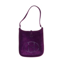 Rare Hermès Evelyne TPM handbag in purple suede, new condition !