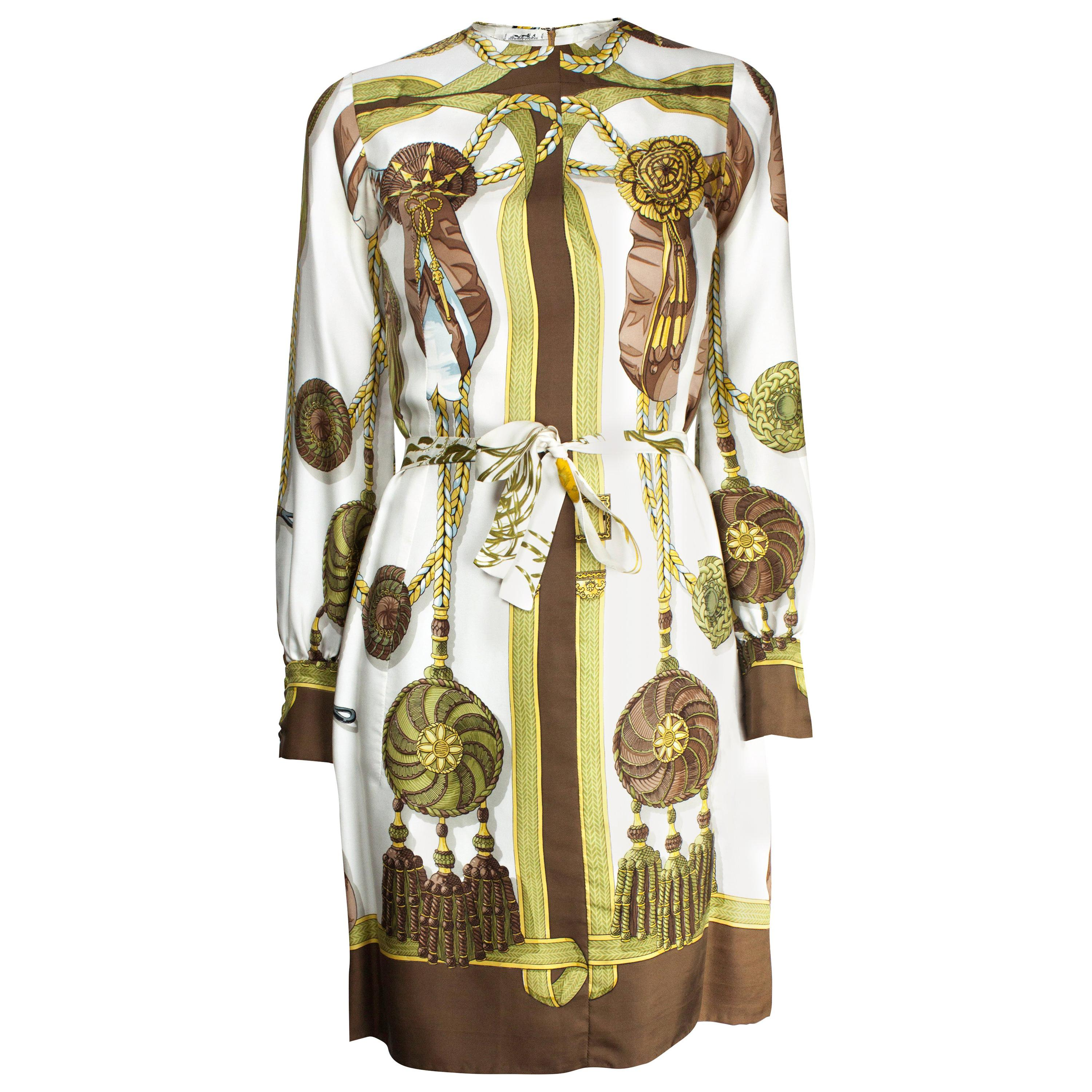 """Rare Hèrmes """"Frontlets and Medallions"""" Limited edition silk dress, circa 1968"""