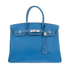 Rare Hermès Handbag Birkin 35 bicolor in blue & white, PHW, excellent condition!