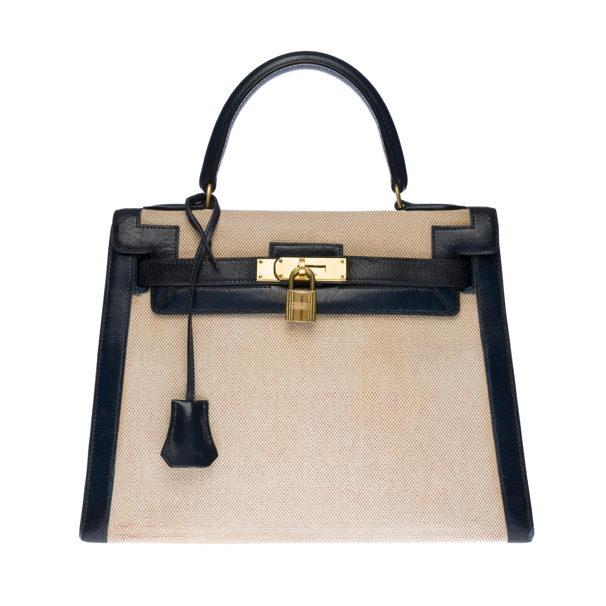 Rare Hermès Kelly 28 handbag in beige canvas and navy blue calf leather, GHW
