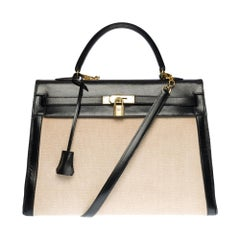 Rare Hermès Kelly 35 shoulder bag with strap in beige canvas and black calf, GHW