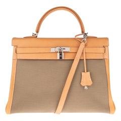 Rare Hermès Kelly 35 strap handbag bi-material and bicolour !