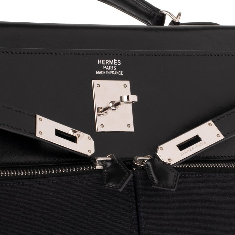 Black Rare Hermès Kelly Lakis 35 handbag with strap, PHW in very good condition! For Sale