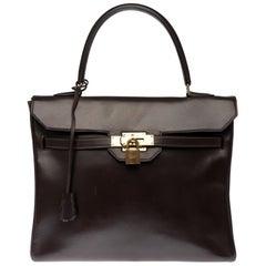 RARE Hermès Kelly Monaco 30cm handbag in brown box calfskin with Gold hardware