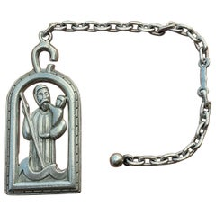 Rare Hermès Key Ring Saint Christophe Saint Patron of Travelers in Silver