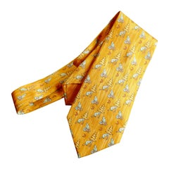 Rare Hermes Novelty Silk Tie, Beavers Felling Trees, Hermes Orange Pallet