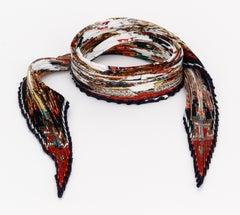 Rare Hermes Pleated Kachinas Silk Scarf