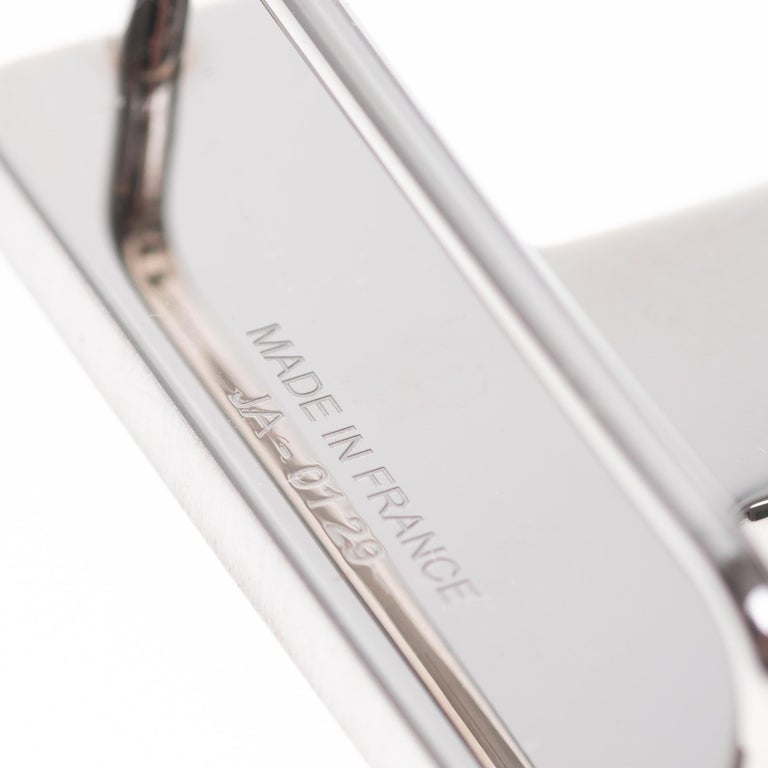 Rare Hermes QUIZZ Brushed Silver Belt Buckle 32mm In New Condition For Sale In Paris, Paris