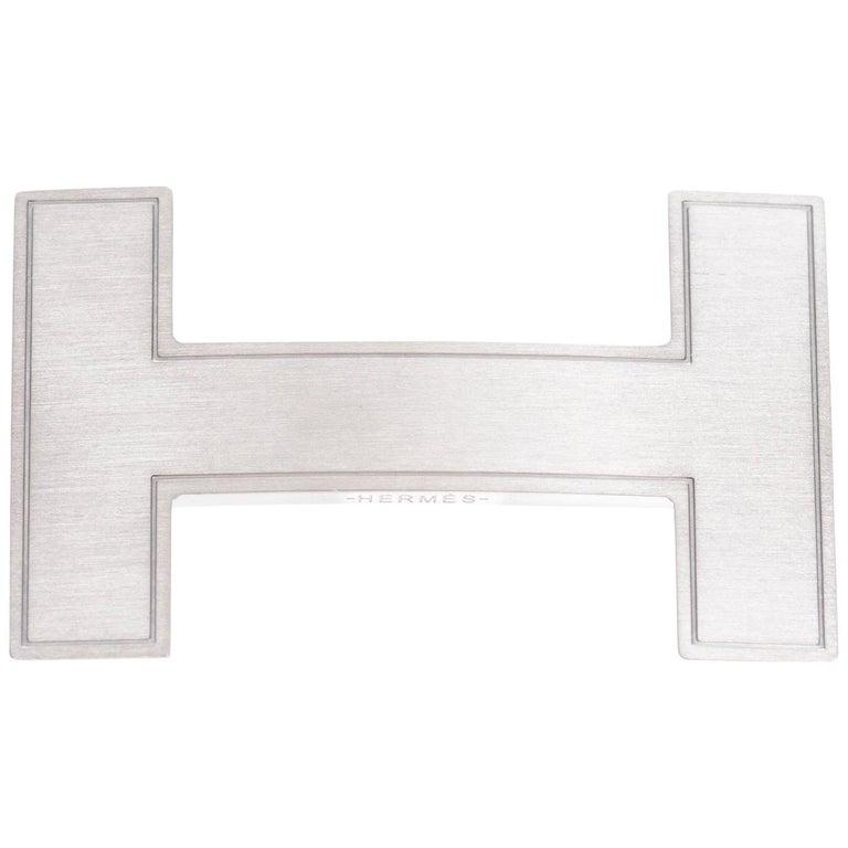 Rare Hermes QUIZZ Brushed Silver Belt Buckle 32mm For Sale