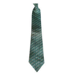 Rare Hermes Silk Tie, All Over Chain Link Pattern, Aqua On Silver/Grey