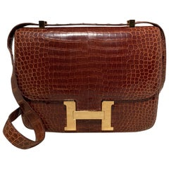 RARE Hermes Brown Crocodile Constance Bag