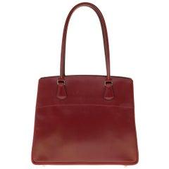 Rare Hermès Tote bag in burgundy box calfskin