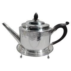 Rare Hester Bateman Georgian Neoclassical Teapot on Stand