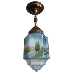 Rare Hexagonal Shape 1920s Blue Glass with Painted Landscape Shade Pendant Light