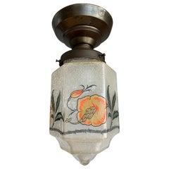 Rare Hexagonal Shape 1920s Crackled Glass w. Striking Flower Shade Pendant Light