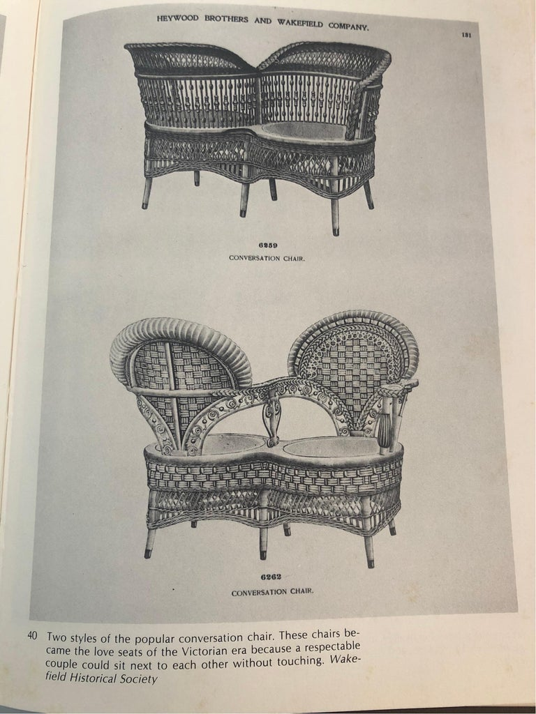 Rare Heywood Brothers and Wakefield Victorian Wicker Conversation Gossip Chair For Sale 4