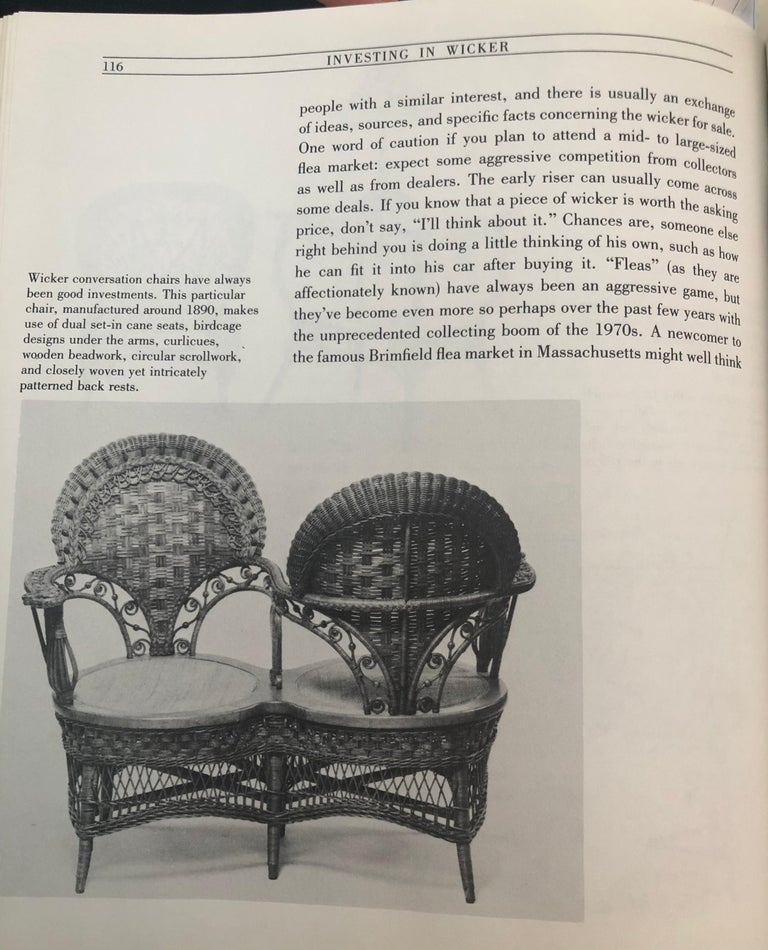 Rare Heywood Brothers and Wakefield Victorian Wicker Conversation Gossip Chair For Sale 5