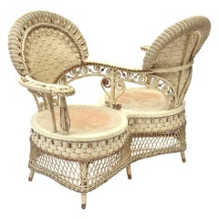 Rare Heywood Brothers and Wakefield Victorian Wicker Conversation Gossip Chair