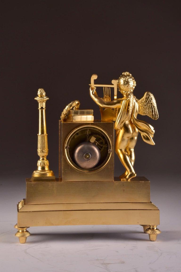 Rare High Quality Cupid Empire Pendulum, circa 1810 For Sale 3