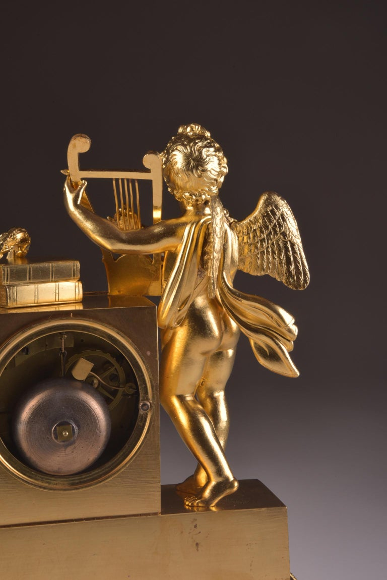 Rare High Quality Cupid Empire Pendulum, circa 1810 For Sale 4