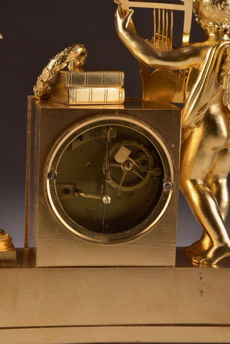 Rare High Quality Cupid Empire Pendulum, circa 1810 For Sale 5