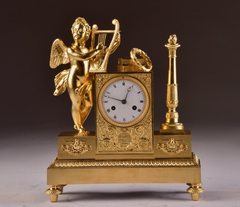 Rare and high quality cupid pendula, circa 1810 Power reserve: 8 day movement Striking: Half hour, one bell.