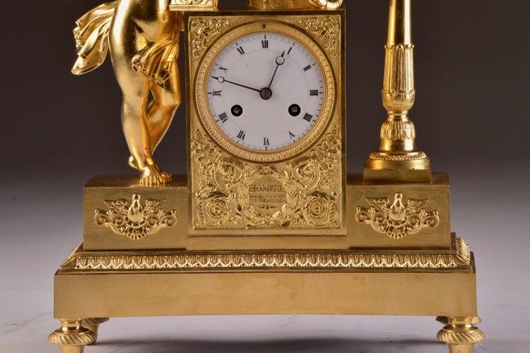 French Rare High Quality Cupid Empire Pendulum, circa 1810 For Sale