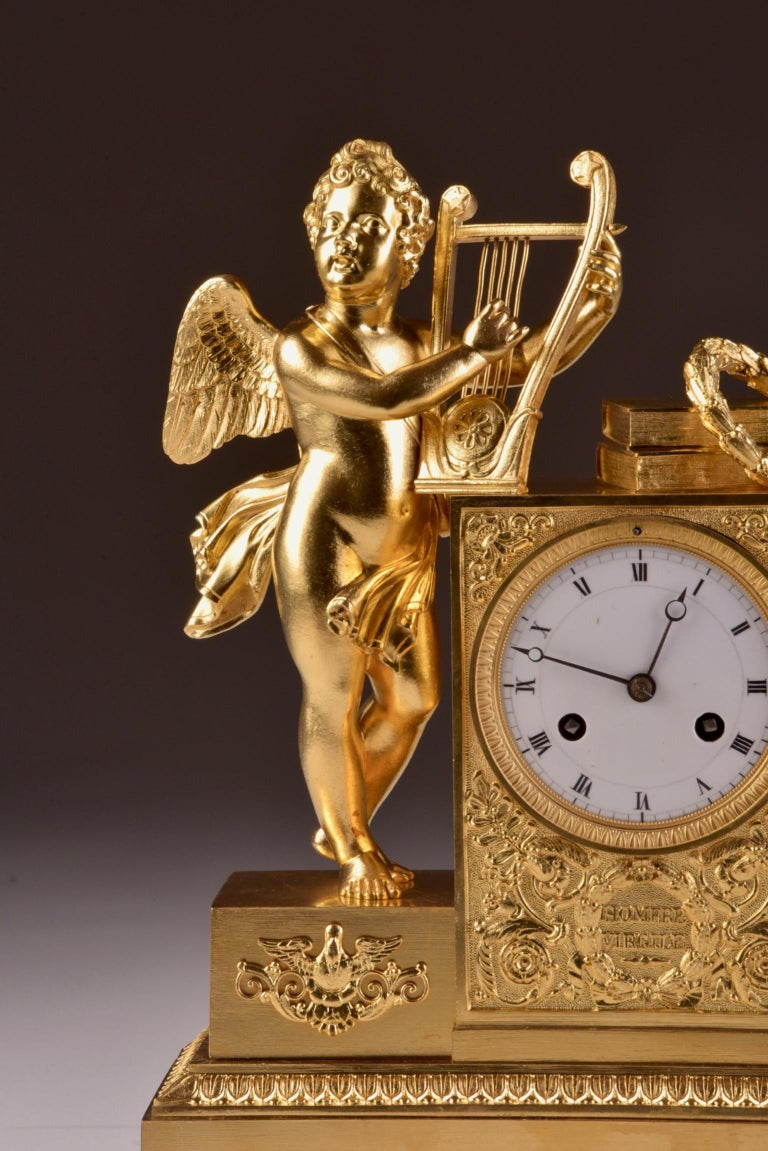 Gilt Rare High Quality Cupid Empire Pendulum, circa 1810 For Sale