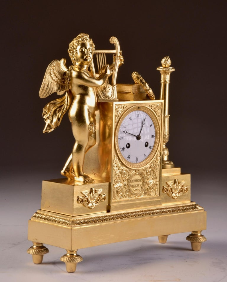 Rare High Quality Cupid Empire Pendulum, circa 1810 In Good Condition For Sale In Ulestraten, Limburg