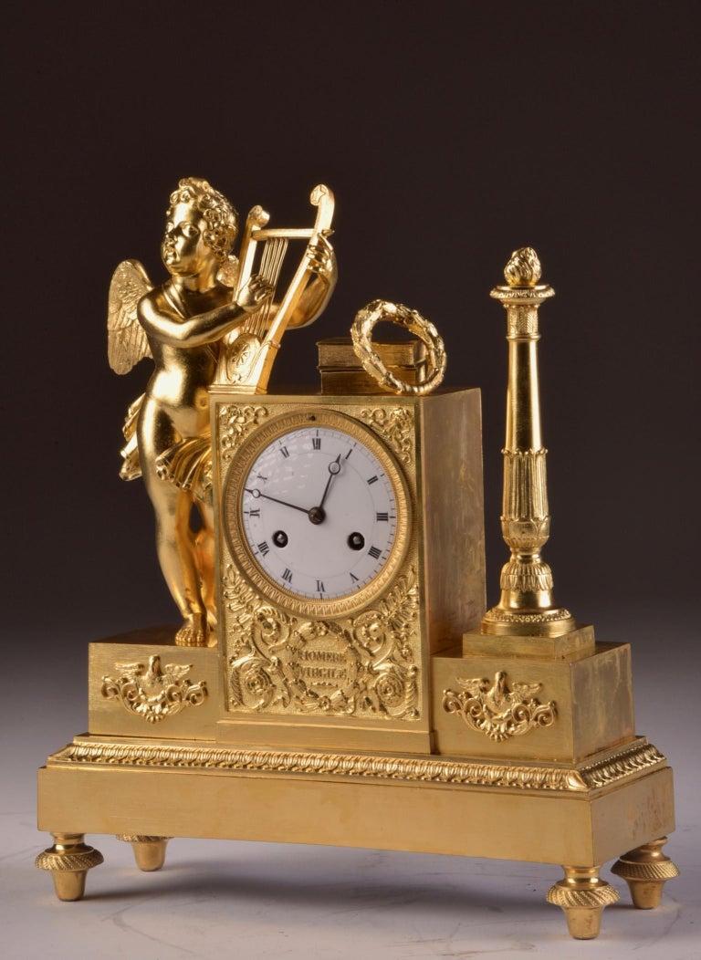 19th Century Rare High Quality Cupid Empire Pendulum, circa 1810 For Sale